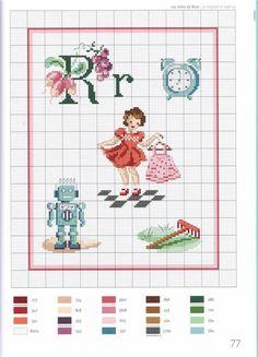 point de croix grille et couleurs de fils abecedaire enfants, lettre r