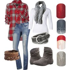 Red & Gray Fall 2014 by yukicat on Polyvore featuring Rails, J Brand, Charles Albert, Pieces and Forzieri