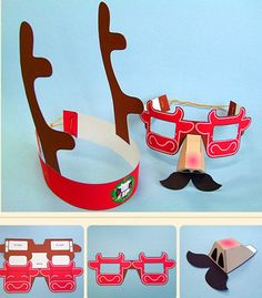 gorro de reno y gafas recortables para navidad