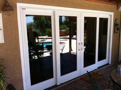 pella sliding patio doors with brown walls