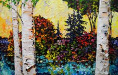 Azure Waters - painting by Maya Eventov at Crescent Hill Gallery Birch Trees, Joy Of Life, Exotic Flowers, Maya, North America, Sidewalk, Romantic, In This Moment, Gallery