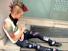Male punk with multicolor mohawk