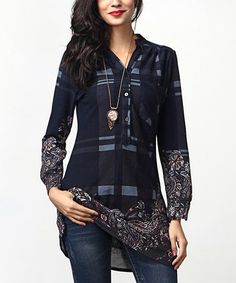 Look what I found on #zulily! Navy Plaid Paisley Button-Front Pocket Accent Tunic #zulilyfinds