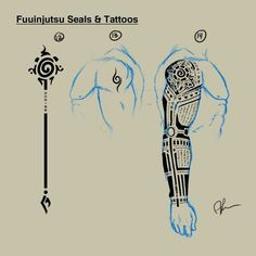 Took me awhile to draw that tattoo sleave. I love how it turned out, though. See more here: [link] (c) Naruto by Masashi Kishimoto Hyuuga, Roku: Fuuinjutsu Seals/Tattoos Naruto Tattoo, Anime Tattoos, Seal Tattoo, Arm Tattoo, Sleeve Tattoos, Tattoo Drawings, Body Art Tattoos, Tribal Tattoos, Tatoos
