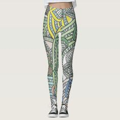 Shop Light Green Yellow Blue Spade Flowing Flowers Leggings created by Liveandheal. Cute Leggings, Best Leggings, Printed Leggings, Hippie Love, Blue Yellow, Green, Fashion Seasons, Leggings Fashion, Dressmaking