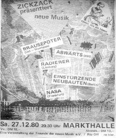 27-Dec-80  GE Hamburg,Markthalle,Zick Zack-Neue Musik festival  [with Wirtschaftswunder, Die Radierer and Abwärts and more]