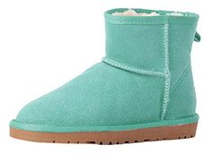 Womens High Top Real Leather Thermal Shoes Winter Snow Boots 65 green -- Click image to review more details.