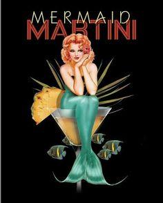 Metal Tin Sign mermaid martini Decor Bar Pub Home Vintage Retro Poster Pin Up Vintage, Retro Vintage, Vintage Food, Vintage Trends, Retro Poster, Poster S, Vintage Posters, Pin Up Girls, Mermaid Tale