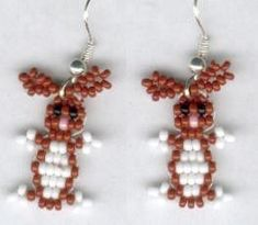 Chocolate Brown and White Easter Bunny Beaded by FoxyMomma on Etsy