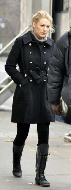 Who made Blake Lively's black jacket and black boots that she wore on the set of Gossip Girl, December 07, 2009? Jacket – Marc by Marc Jacobs Felt Coat  Shoes – Joie Refugee Lace Up Boots