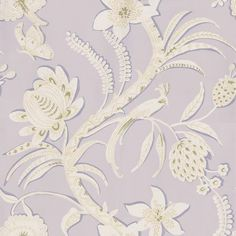 Ecuador (839-T-9254) - Thibaut Wallpapers - A stylised large floral trail-shown here in lilac with white flowers and pale green detail. Vinyl coated. This is an American wallcovering and will take between 7-10 working  days for delivery. Wide width. Please request sample for true colour match.
