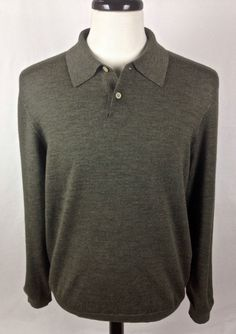 BROOKS BROTHERS Sweater Mens L Green MERINO Wool Long Sleeve  #BrooksBrothers #VNeck