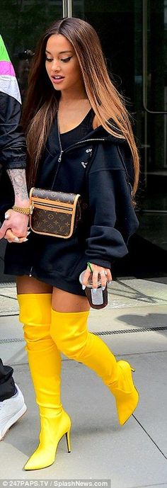 Ariana Grande stuns in canary yellow thigh-high boots while stepping out with fiance Pete Davidson Ariana Grande Outfits Casual, Ariana Grande Hair Color, Ariana Grande Body, Adriana Grande, Ariana Grande Pictures, Casual Outfits, Cute Outfits, Fashion Outfits, Ariana Grande Makeup
