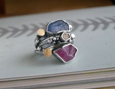 Candy Rings Yellow Sapphire Blue by studio94     Materials: silver, yellow sapphire, 14k gold, blue sapphire, ruby, 18k gold