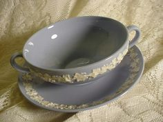 Wedgewood Embossed Queen's Ware Handled Soup Bowl & Saucer Blue with White Leafs