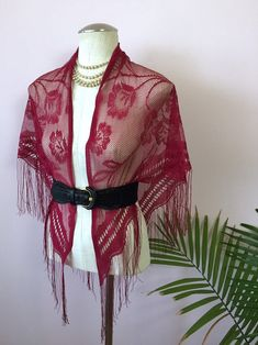 Vintage Cranberry Lace Shawl, Delicate Floral Lace, Fringed Triangle Scarf, Stevie Nicks Style Lacy Wrap from Mz Jones Boudoir Vintage Accessories, Vintage Jewelry, Triangle Scarf, Vintage Scarf, Stevie Nicks, Crochet Shawl, Hippie Boho, Floral Lace, Boudoir