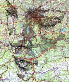 Wow.......... UK-based illustrator Ed Fairburn creates portraits on maps, incorporating the roads and other map features into the likenesses.