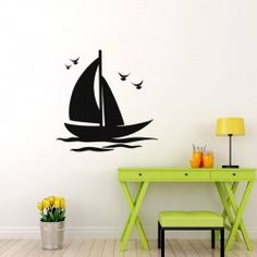 "Sailing Boat Wall Decal  This sweet Sailing Boat Wall Decal is like a breath of fresh, ocean air for your walls. This classic sailboat floats on gentle waves, while lively seagulls fly overhead to finish the look. Breezy and carefree, this decal is sure to inspire your own seaside dreams.  SMALL :-- 24' X 24"" MEDIUM :-- 24"" X 24"" LARGE :-- 48"" X 48"""