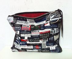 UPCYCLED Label Clutch. Oversized Multicolour Bag. Leather by jool, $74.00