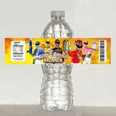 printable - personalized power rangers megaforce water bottle label   Mary_Party_Supply - Paper/Books on ArtFire