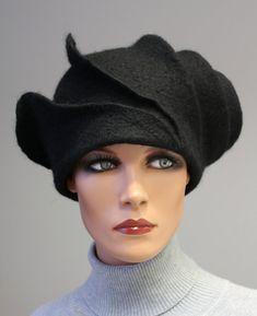 "Felted sculpture hat ""Black stylish madam"""