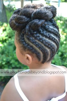 Beads, Braids and Beyond: Natural Flower Girl Updo with Cornrows and Twists