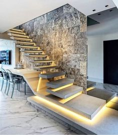 Arqui em 2019 luxury staircase, staircase design e house stairs. Home Stairs Design, Interior Stairs, Modern House Design, Stair Design, Lobby Interior, Wall Design, Luxury Staircase, Modular Staircase, Escalier Design