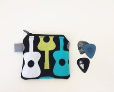 Guitar Pick Pouch - Small ZipperPouch - Mini Coin Bag - Lined - Guitar Change Purse - Music Pouch - Kids Gift Idea - Michael Miller - Mod by BlackcatmeowDesigns on Etsy