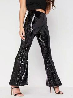 Sexy Nightclub Women Flare Trousers Sequined High Waist Bodycon Evening Party Clubwear Gilter Black Silver Female Slim New Pants Green Evening Dress, Mermaid Evening Dresses, Pants For Women, Clothes For Women, Cheap Clothes, New Pant, Casual Pants, Women's Casual, Buy Dress