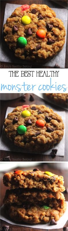 Healthier Classic Monster Cookies -- peanut butter oatmeal with LOTS of chocolate! These skinny cookies don't taste healthy at all! You'll never need another monster cookie recipe again!