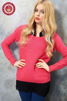 Womens Twin Sets Polo Chiffon Hemline Sweater,$59