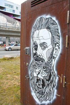 Stencil graffiti by Don John in Copenhagen. Stencil Street Art, Stencil Graffiti, Graffiti Wall Art, Stencil Art, Street Art Graffiti, Stencils, Don John, Street Art Love, Photography Illustration