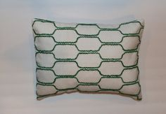 Exclusive 12x16 Green white geometric Retro Lumbar Pillow by DecorTreasures on Etsy