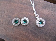 Emerald Bullet Jewelry Set with Necklace and Earings with Swarovski Crystal Accents - 38 Special Bullet - May  Birthstone on Etsy, $26.50