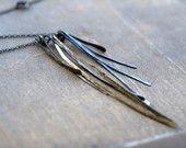 silver palm . oxidized sterling silver fan