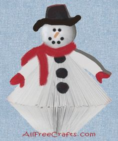 Recycle a paperback book to make this retro snowman from the groovy seventies. Old Book Crafts, Book Page Crafts, Christmas Snowman, Christmas Crafts, Xmas, Christmas Trees, Glue Crafts, Paper Crafts, Book Folding Patterns Free