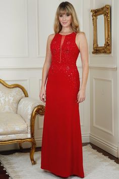 Velona Red Embellished Detail Maxi Dress
