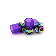 A stubby pyrex glass drip tip with a wide bore opening and a rainbow finish base. Available in black, silver, copper, and gold, rainbow.