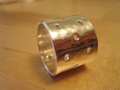 Sterling Silver Ring Hammered Drilled Size 5 by PaolaNaviaJewelry, $100.00