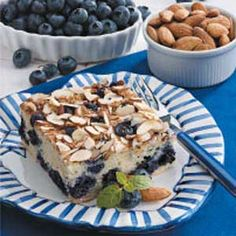 Blueberry Almond Coffee Cake - I've made this before with almonds.  Today I made it with pecans.  Yummy!!!