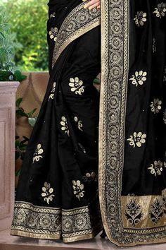 Black #Kanchipuram Silk Embroidered Party Saree Sku Code: 135-5690SA421440 US $ 86.00 http://www.sareez.com/black-kanchipuram-silk-embroidered-party-saree.html#