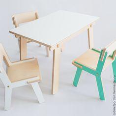 Купить Стол и стул - белый, фанера, Мебель, мебель для детской, стол, столик, стул, стульчик