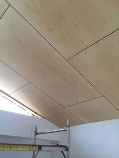 Dining Room Wall_Raked ply ceiling within the master bedroom. Plywood Ceiling, Raked Ceiling, Plywood Walls, Timber Ceiling, Wood Ceilings, Ceiling Cladding, Plywood Interior, Solar Panel Installation, House On A Hill