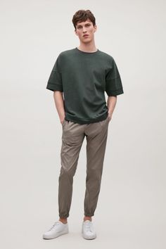 COS image 1 of Relaxed drop-shoulder t-shirt in Forest Green