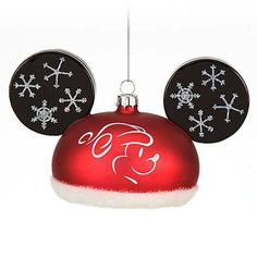 Disney Holiday Mickey Mouse Santa Hat Glass Ears Christmas Ornament New Mickey Mouse Christmas Ornament, Christmas Tree Ornaments, Christmas Holidays, Disney Holidays, Glass Ornaments, Christmas Crafts, Merry Christmas, Mickey Y Minnie, Mickey Ears
