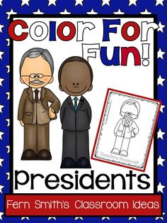 #Presidents' Day Fun! Presidents Color For Fun Printable Coloring Pages - Includes Washington to Obama!  This Presidents' Day Resource is perfect for when you are teaching Presidents' Day as it includes all of the presidents. #TpT $paid #FernSmithsClassroomIdeas
