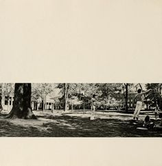 Athena Yearbook, 1971. Man jumping on College Green with others standing around them. :: Ohio University Archives