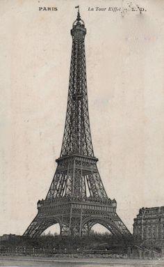 Free Vintage Printable Eiffel Tower Paris Image