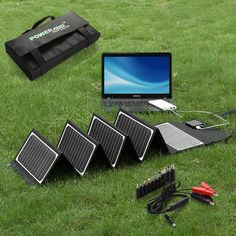 60W 18V Portable Battery Charger Backup Folding Solar Panel For Laptops Computer #Poweradd