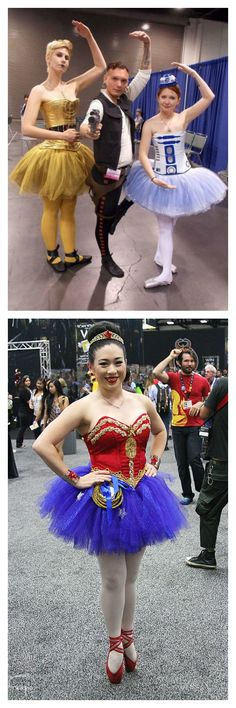 Mixed Costume Themes: Ballerina R2D2, C3PO, Jack Sparrow & Wonder Woman